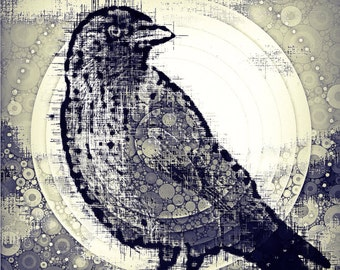 Black and white print with crow and dots