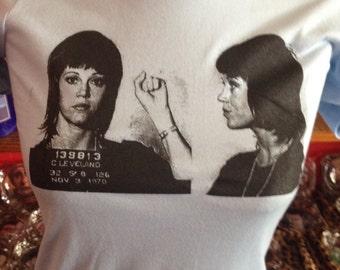 JANE FONDA 1970 Mugshot Screen Printed T Shirt Barbarella