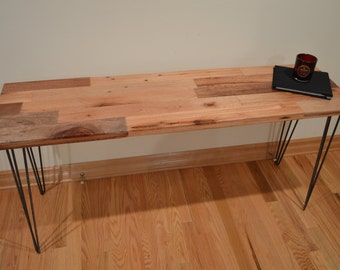 Reclaimed Wood Console Table // Hairpin Legs
