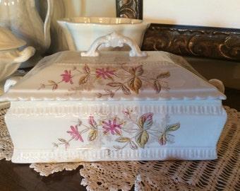 Antique 1880 Aesthetic transferware floral pattern Bridgwood tureen vanity dish
