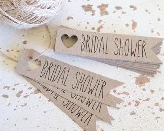 Rustic Bridal Shower Banner Tags Pk10