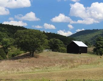 Rustic Black Barn Landscape Framed Photograph