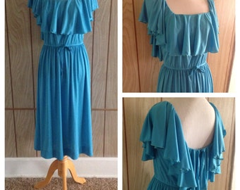 Vintage 70's flutter sleeve TONI TODD ruffle dress - m