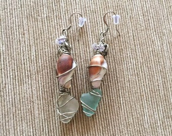 Sea Foam Glass Shell Earrings
