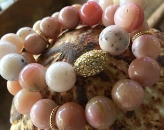 Stretch Beaded Bracelet, Beaded Bracelet, Pink Opal Beaded Bracelet