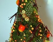 Christmas Tree of moss with rind of orangeTable decor Holiday New Year Gift Decoration Traditional Charm for home Handmade!