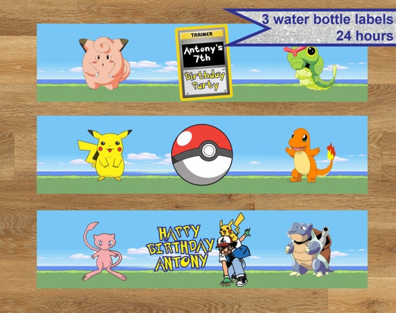 Pokemon Birthday Printable Bottle Labels | Birthday Wikii