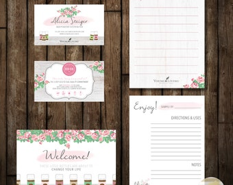 Shabby Chic Rose and Rustic Young Living Essential Oils Business and Marketing Cards Digital Printable Design