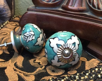 DecoratPull Knobs, Craft Project Knob, Teal & Antique White Ceramic Hand Painted Drawer Pull,Cabinet Supply,
