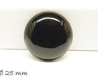 1 PCs cabochon, black agate, 25 mm