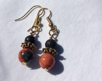 Desert tone Czech glass earrings