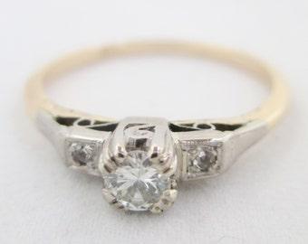 Stylish vintage diamond solitaire filigree engagement ring 18ct platinum