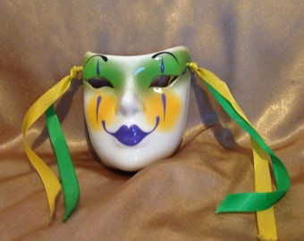 Vintage Ceramic Wall Mask from the 1980's, Wall Mask, Ceramic Wall Mask, Clay Art Face Wall Mask