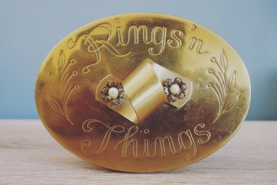 Rings and Things Brass Box from Etsy Shop ThriftWood vintage