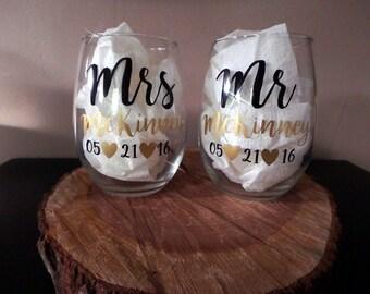 Mr and Mrs Custom Wine Glasses