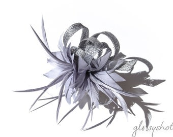 Silvergrey  Classic Feather Flower Fascinator Clip and Brooch