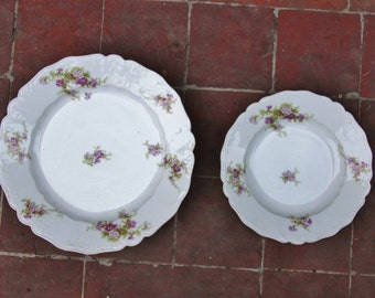 Lot of dish + plate white flowers Limoges porcelain Parma