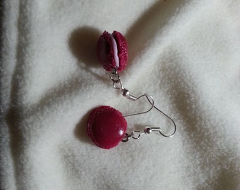 Earrings raspberry macaroons