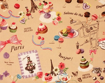 Yuwa Oxford Fabric Sweets Rondeaux, Macaron, Pastry, Eiffel Tower, Chocolate - Japanese Fabric by the Half Yard