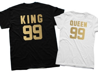 King and Queen shirts King 99 Queen 99 Matching Family Matching shirts Couples shirt Matching Wife gift Husband gift Couples gift t-shirt