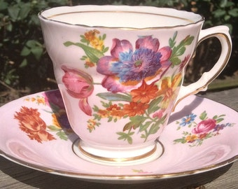 Pretty in Pink-HM Sutherland Teacup and Saucer