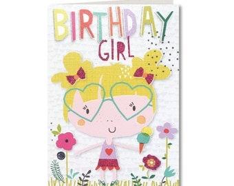 Cut-Out Cuties - Happy Birthday - Birthday Card - Birthday Card Girl - Birthday Greeting Card - Birthday Girl - Cute