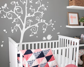 Tree wall decal Large decal for nursery White tree wall decal for nursery Tree decal for kids room Large tree decal Wall art -AM019