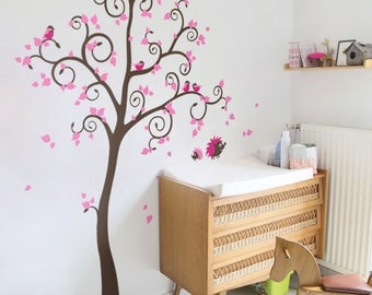 Large wall sticker for nursery Tree decal Large tree sticker Tree and birds wall mural for kids room Removable vinyl wall sticker -AM119