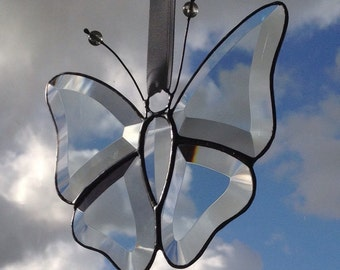 Hand made Bevelled Glass Suncatcher Decoration - Butterfly