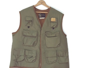 Vintage Columbia Fly Fishing Vest Olive Green 8 Pocket Zipper Shearling Fleece Patch 70s Sportsman Portland Oregon Mens XL Costume