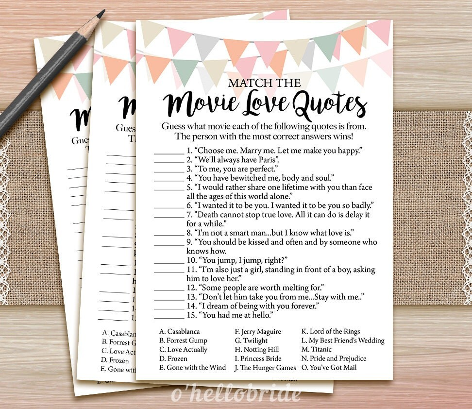 Uncategorized Love Matcher Game movie love quote match game printable coral blush bridal
