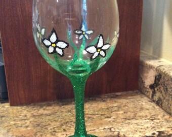 Hand Painted Flower Design Wine Glass