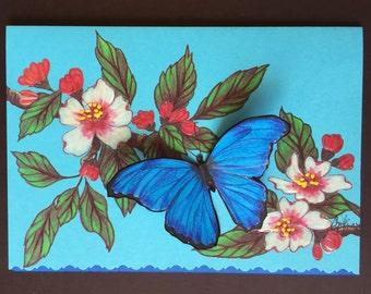 "Iridescent Blue ""Peruvian Morpho"" Butterfly Greeting Card"