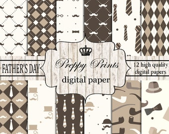 Digital paper pack, Printable paper pack, Scrapbook papers, Digital collage sheets, Father's day scrapbook patterns, Digital paper printable