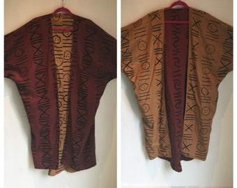 Vtg 70s african ethnic mudcloth reversible cocoon jacket coat duster dress