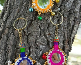 Mirror keychain. Please specify color. Folk art from rajasthan india.