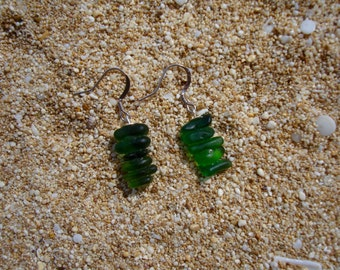 Sea glass stacked earrings green