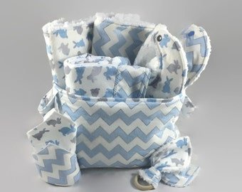 Baby Shower Gift Basket, 9 piece set, baby gift, Baby Accessories, chevron Baby Blanket, Burp Cloths, Baby Bibs, bunny blanket, Diaper Caddy