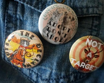 Set of (3) animal rights pins (1.25in)