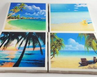 Beach Coasters-Beach Tile Coasters/Tile Coasters/Drinkware/Barware/Beach Decoration/Wedding/Birthday/Seashells/Ocean/
