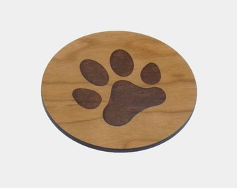 Wooden 'PAW' Coasters - Set of 4