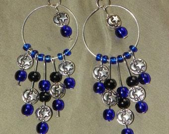 Moon & Stars, Night Sky Dangling Chandelier Earrings