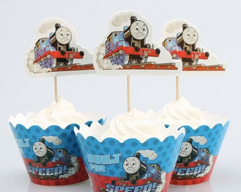 Thomas the Train Cupcake Wrappers and Toppers-Set of 12