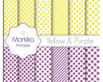 Digital Paper Yellow & Purple