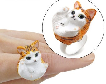 Handmade 3D Kitty Rings (D: Ginger Tabby)