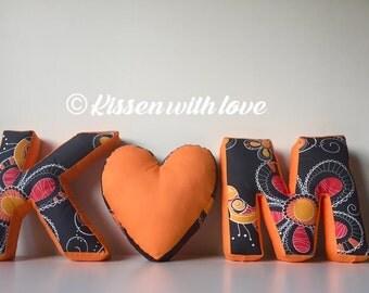 Initials Letter Pillows  set- K/ heart/ M