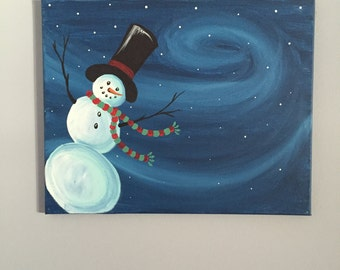 Snowman with Red and Green Scarf