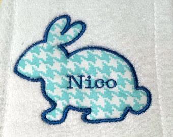 Bunny / Rabbit applique' burp cloth