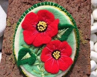 Handmade Felt Brooch with Poppies Ornament