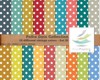 Big White Polka Dots Over Vintage Colors - Scrapbooking Digital paper Pack for personal and commercial use - Suitable for scrapbooking